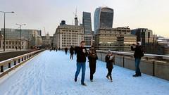 On London Bridge, winter 2018 (Paul-M-Wright) Tags: london bridge snow sunrise sun commuter towerbridge winter beastfromtheeast river thames uk londonstreetphotography londonstreet walkietalkie building 20fenchurchstreet city people sky londonscene