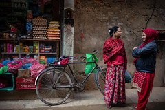 Two Nepali Woman (wilsonchong888) Tags: leicamsummilux35mmf14asphii m10 leica shop streetphotography colour nepal kathmandu bicycle woman