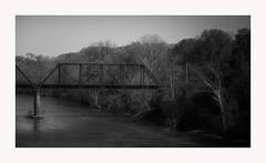 The Crossing (TuthFaree) Tags: trestle river bw blackwhite water crossing light shadow