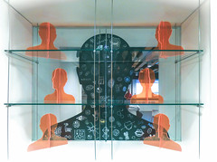 The Thinking Man (Steve Taylor (Photography)) Tags: perspex art design museum window black blue orange glass plastic uk gb england greatbritain unitedkingdom london shape silhouette eustonroad mauroperucchetti wellcomecollection head face