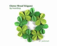clover wreaf origami (polelena24) Tags: origami clover shamrock modular glue wreaf leaves