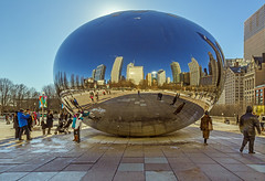 Skyline Reflections In The Bean (Mike Schaffner) Tags: anishkapoor art bean buildings cloudgate millenniumpark outdoorart publicart reflection sculpture skyline winter chicago illinois unitedstates us
