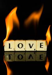 Burning love (grbush) Tags: flame macromonday macro closeup fire burning scrabble love elvis reflection onfire alight flames burninglove elvispresley sonya7 tamronaf90f28disp letters srabbleletters