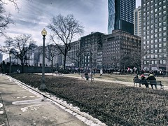 Anniversary (ancientlives) Tags: chicago illinois il usa travel michiganavenue downtown loop gardens buildings towers architecture city cityscape skyscrapers skyline demostrations trump anniversary saturday january 2018 winter bluesky walking ngc streetphotography