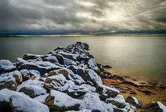 After the Snow (tquist24) Tags: chapmanbeach christmas christmasmorning connecticut hdr longislandsound nikon nikond5300 westbrook beach clouds geotagged jetty light longexposure ocean rock rocks sand sky snow water winter unitedstates