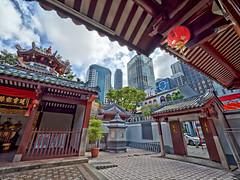Temple Oasis (SGarriott) Tags: sgarriott scottgarriott olympus omd em5ii singapore asia orient urban city skyline buildings temple 714mmf28 wideangle thianhockkeng