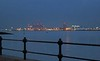 Liverpool Waterfront around 6pm in February (Kay Bea Chisholm) Tags: evening redlights containerport lights water lowtide docks rivermersey liverpool