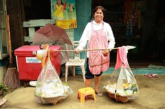 the dessert lady (the foreign photographer - ฝรั่งถ่) Tags: middle aged lady shoulder basket desserts sweets convenience store khlong thanon portraits bangkhen bangkok thailand canon