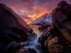 Fiery crack (Teemu Kustila Photography) Tags: lofoten norway sunset ilobsterit sunrise leefilters crack mountain birds flying sea atlantic ocean wave coast rock