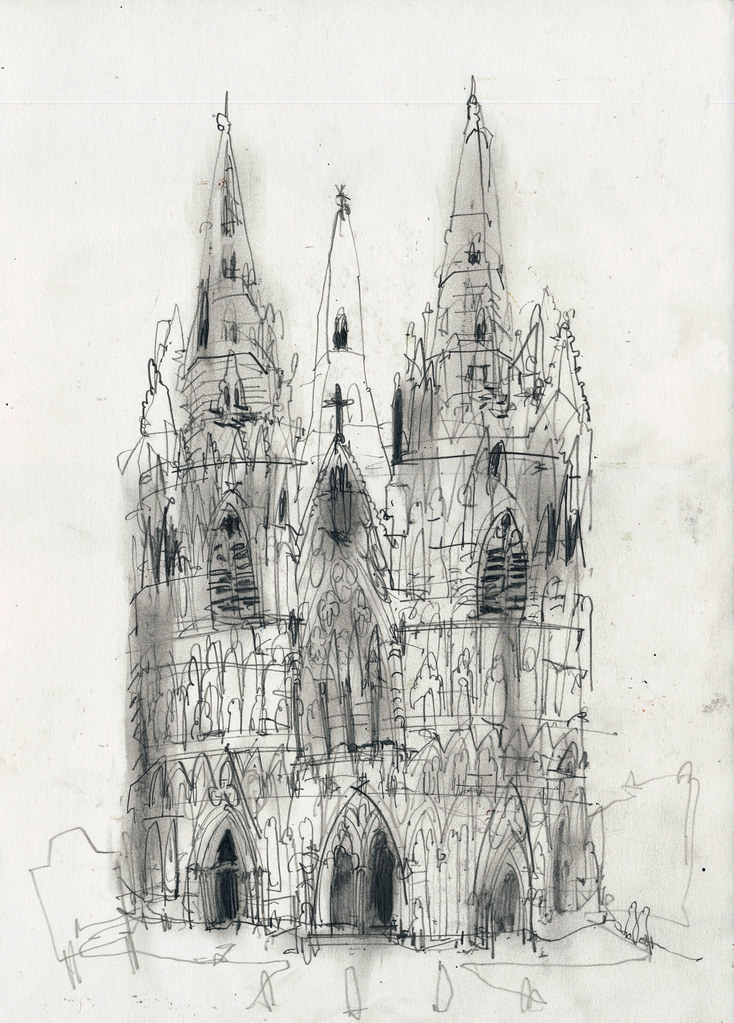 Lichfield Cathedral Jondixon Tags Drawing Pencil Paper Sketchbook Architecture Gothic Uk Church