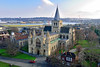 Rochester Cathedral (Geoff Henson) Tags: cathedral church spire tower landscape river sky building view road house kent grass trees