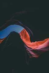 Looking Towards the Sky From Lower Antelope Canyon in the Desert of Arizona (Cole Eaton Photography) Tags: canyon antelope arizona usa landscape southwest color nature travel rock cave orange sandstone stone abstract light desert background lower navajo red slot page amazing pattern outdoors sky america striped flowing curve beautiful wave texture shape concept design motion art black