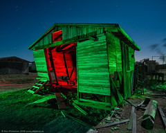 Doubled Over (dejavue.us) Tags: lightpainting longexposure shack nightphotography nikon desert d800 180350mmf3545 garage fullmoon mojavedesert nikkor abandoned california vle