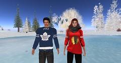 OS-Lavy-NHLskating_004 (lanclave) Tags: winter hockey virtualreality shinny skating blackhawks mapleleafs chicago toronto pond frozen oculusrift virtualworld easports screenshot secondlife osgrid metropolis hypergrid metaverse 3drender opengl nhl