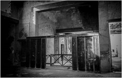 Carbonised Doors, House of the Wooden Partition, Herculaneum 1993 (bobbex) Tags: romanruins roman archaeology ercolano italy italia bw blackwhite