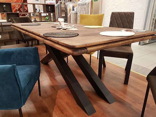Wood Oak Dining Table Industrial Rustic Vintage Old Metal Legs Iron Chairs Loft Modern Furniture Table Dining Scandinavian Metal