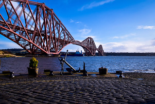 The Forth Bridge, a ship and an anchor