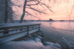 070 (petrisalonen) Tags: sunset winter finland nature river fog february canon1635mmf4isusm snow frozen freezing