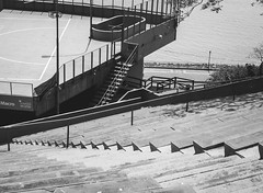 The amphitheater. (Pablin79) Tags: city street urban light step architecture building sky old water lines monochrome black white river grey stairs shadows posadas misiones argentina amphiteather outdoors
