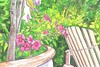 In the garden (kmlusby) Tags: garden pot flowers green leaves adirondack chair