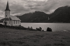 Norwegian nature (steffos1986) Tags: nature landscape landschaft waterfall cascade stream lake fjord ocean mountain blackwhite nikond5500 sognogfjordane church field summer light sun shadows feigumfossen afsnikkor18105vr ndfilter hoyandx4 house green norway norwegen noruega europe scandinvaia explore e expression view scenery scenic turism travel