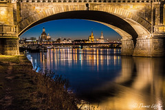 Symphony of gold and blue (funtor) Tags: blue colors dresden germany city architecture night evening bridge reflection light urban