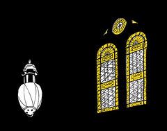 Chapel, Main cemetery, Karlsruhe, December 2017 (stevefaradaysketches) Tags: stainedglass church lights classical urbansketch inkdrawing karlsruhe