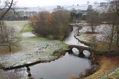A view over the River Wye (jpotto) Tags: uk derbyshire haddonhall historichousesassociation snow bridge river scenery riverwye