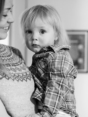 Jakob and mum (livsillusjoner) Tags: boy small young kid child children mum mom mother mama mamma son motherandson parent monochrome bw blackwhite blackandwhite black white grey smile plaid knit knitted portrait people