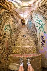 Old Los Angeles Zoo (Thomas Hawk) Tags: america california griffithpark losangeles losangeleszoo oldlosangeleszoo thomashawk usa unitedstates unitedstatesofamerica abandoned graffiti selfportrait stairs zoo fav10