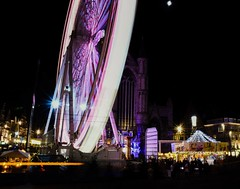 Christmas in Ghent. Cosy. Lot of lights and People and movement. Happy holidays you all. (Callewaertkim) Tags: light christmas holiday ghent motion round city fun market winter people ferriswheel cosy night
