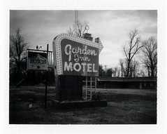 Urbandale, IL (moominsean) Tags: polaroid 190 instant fuji fp3000b illinois urbandale midwest winter clouds gardeninnmotel abandoned