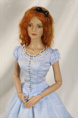 Alice Kingsleigh dress (Sewing Fairy) Tags: alice alicekingsleigh tonner sydneychase 14 scale doll dress cosplay blue redhead embroidery embirdstudio embroideredflowers belleepoqueoutfits handmade lace