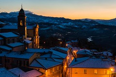 verucchio (lucafabbricesena) Tags: verucchio emiliaromagna italy snowy village sunset church towerbell evening history roof street nikon d800 mountain architecture snow panorama twilight winter river light