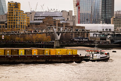 Yellow containers on the Thames (suzannesullivan2) Tags: boat tug barge