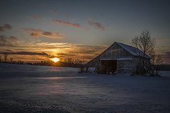 Cold Winter Sunset on the farm (morin.luce) Tags: old barn farm farmland agriculture quebec canada sunset winter cold cloudscape trees snow