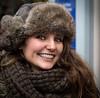 Mistletoe sales (Nikonsnapper) Tags: olympus omd em1 zuiko 45mm portrait scarf hat warm pretty smile cossack