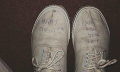 Happy Christmas 2017 and New Year 2018. It says that on my plimsolls. (eurimcoplimsoll) Tags: plimsolls plimsoles canvassneakers dirty grafitti wellworn