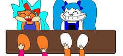 Karen and Camma feet tickled by Lovely and Derp Nazarios (brittany8895) Tags: karen o koopa 2017 camma skeleton december microsoft paint lovely nazario derp