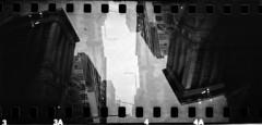 Rightside Upside Down (Blurmageddon) Tags: 35mm film blackandwhite kentmere400 epsonv700 panoramic legacyecopro selfdeveloped lomography sprocketrocket lomo toycamera