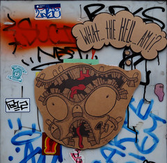 What...the...Hell..Am I (TheMachineStops) Tags: 2017 outdoor nyc newyorkcity manhattan sticker graffart red black cardboard drawing urbanart