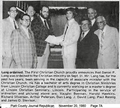 Dan Lang Ordination, Monticello First Christian Church, 1980-11-20 (RLWisegarver) Tags: piatt county history monticello illinois usa il