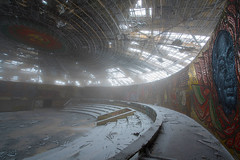 Buzludzha - Mosaic (Palnick) Tags: winter monument bulgaria buzludzha peak balkan shape sky snow stone history view architecture space sculpture construction socialist destroyed symbol communism ruin socialistic memorial past ideology communist mountain building kazanlak heritage historic blue shade house hill ruination light nature sickle beautiful travel bulgarian shadow ray sunset cloud park abandoned phantom concrete