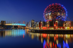 Blue hour at Science world (Luke Sergent) Tags: architecture bc beautiful british building buildings canada canadian city cityscape columbia creek downtown evening false harbor landmark luxury modern night reflection science skyline sunset tourism travel urban vancouver view water waterfront world