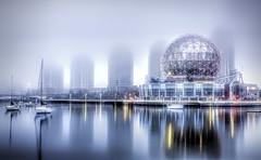 Science World in the Fog (beelzebub2011) Tags: canada britishcolumbia vancouver fog hdr highdynamicresolution scienceworld falsecreek longexposure