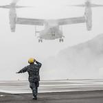 Sailor directs an MV-22 Osprey. thumbnail