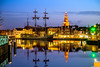 Evening in Alkmaar (Emil de Jong - Kijklens) Tags: emildejong alkmaar nacht avond ship schip sailing zeilschip zeilboot night color kijklens noordhollands kanaal water explore dusk toren waagtoren steigers steiger