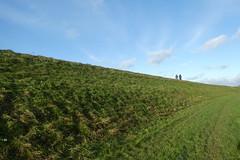 Cycling (polletjes) Tags: fietsen bicycle fiets blauw blue hemel sky lucht wolken cloud clouds gras groen grass dike dijk nederland netherlands natuur nature
