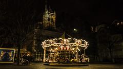 Retour en enfance (Fred&rique) Tags: lumixfz1000 photoshop raw nuit manège chevaux voitures église suisse genève lumières enfance carousel