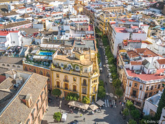 Sevilla from above (✦ Erdinc Ulas Photography ✦) Tags: sevilla spain red yellow view above españa green street cars traditional house houses windows people culture architecture pool colourful panasonic roof apartment plaza
